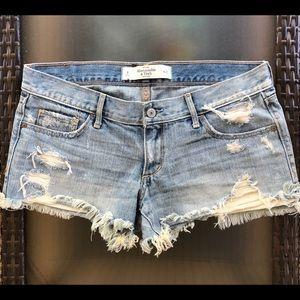 A&F Low Rise Distressed Denim Shorts
